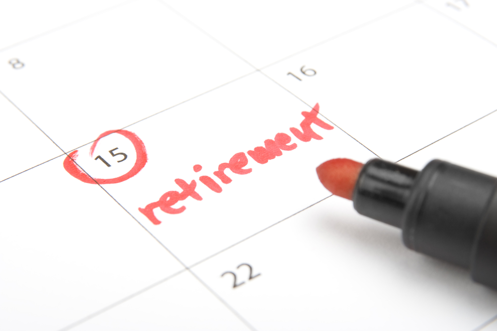 Look forward retirement payday - retirement written in calendar and highlighter
