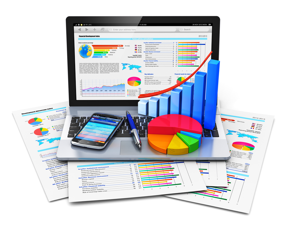 Mobile office work, stock exchange market trading, statistics accounting, development and banking business concept: modern laptop or notebook computer PC with stock market application software, growth bar chart, pie diagram, ballpoint pen and touchscreen smartphone on financial report documents isolated on white background
